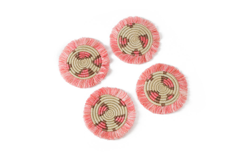 Pink Animal-Print Coaster Set