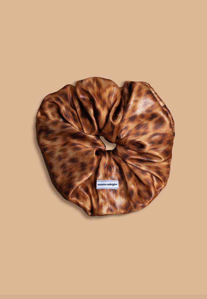 Light Leopard Metallic Scrunchie