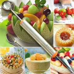 2-in-1-Double End Stainless Steel Fruit Baller Carving Knife Melon Scoop