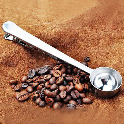 Stainless Steel Coffee and Tea Scoop with Bag Sealing Clip