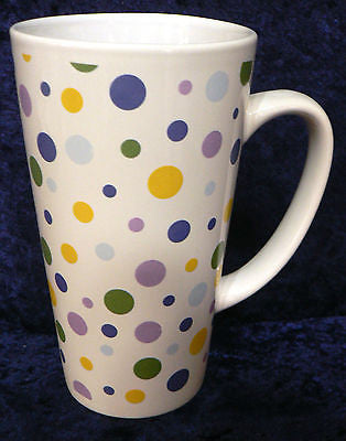 Pastel spots spotty ceramic large latte mug  3/4pt capacity