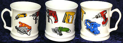 Power Tools colourful fine bone china tankard large mug with tools design