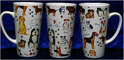 Dogs ceramic large latte mug 3/4pt capacity