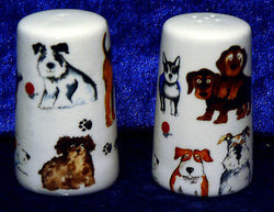 Fun Dogs bone china cruet set salt & pepper set -  Many different dogs
