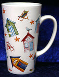 Pair of Beach Huts latte mugs with spoons gift boxed 3/4pt capacity  ceramic