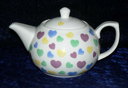 Hearts pattern 2 cup or 6 cup porcelain teapot Pastel coloured hearts all over