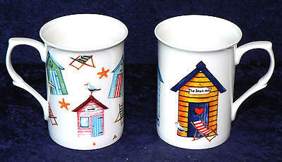 Beach Huts design China Mug 2 designs to choose from row of huts or chintz