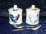 Set of 2 bone chinafun chicken cockerel hen preserve jars & spoons gift boxed
