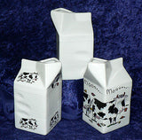Milk carton shaped jug off white ceramic decorated with cows. 2 sizes 3 designs