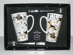 2 x Dogs latte mugs gift boxed with latte spoons - ceramic mugs 3/4pt capacity