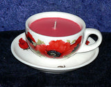 Demi (Mini) Espresso cup and saucer poppy design filled with scented candle