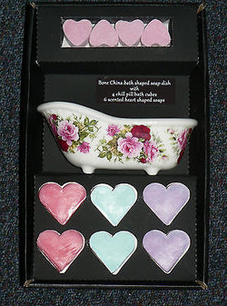 Bath shaped bone china soap dish gift boxed with heart soaps and chill pills
