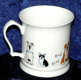 Large China Tankard with cute Dogs design  - different dogs all around mug