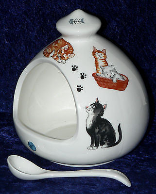 Cat cats salt pig Porcelain salt pig with ceramic spoon decorated with many cats
