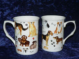Dogs mug gift set 2x bone china mugs with many diff dogs print in black gift box