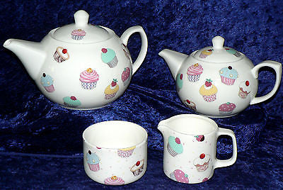 Cupcakes Cup cakes chintz choose 2 cup or 6 cup teapot milk jug or sugar bowl