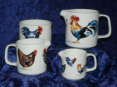 Chicken cockrels milk jugs, choice 3 sizes jug, or sugar pot bowl 4/7/10oz