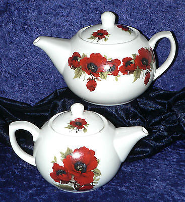 Poppy pattern 2 cup or 6 cup porcelain teapot or milk jug or sugar bowl