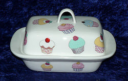 Cupcakes, fairycakes,cakes porcelain traditional deep white butter dish