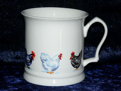 Chickens china tankard large mug Colourful tankard with cockerels roosters