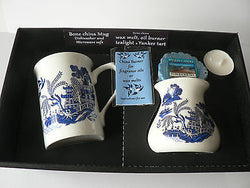 Blue willow Mug & oil burner gift set -Gift boxed, oil burner Yankee melt t.lite