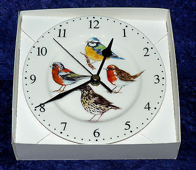 Garden Birds wall clock porcelain wall clock.Robin, bluetit, thrush, chaffinch