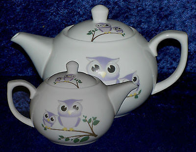 Cute owls 2 cup ceramic teapot choice of 2 colourways green/yellow mauve/lilac