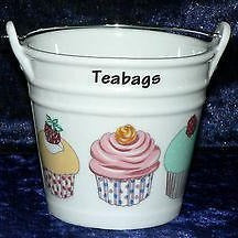 Cupcake teabag tidy Bucket, used teabag holder decorated with cupcake fairy cake choice of 2 sizes