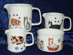 Cats & Kittens milk jugs, choice 3 sizes jug, or sugar pot bowl 4/7/10oz