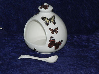 Butterfly Salt pig & ceramic spoon - White porcelain decorated with butterflies
