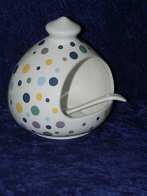 Spots design salt pig. Large porcelain salt pig with ceramic spoon spots design
