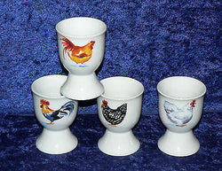 Cockerel, chicken egg cups eggcup porcelain set of 4