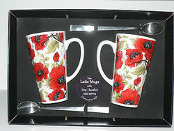 Pair of Poppy large latte mug with spoons gift boxed 3/4pt capacity