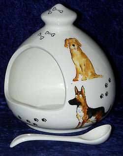 Fun large size Dog dogs salt pig. Fine white porcelain with ceramic spoon