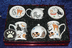 Cat lovers gift set. 2 x china mugs 2 x china coasters, china milk & sugar set