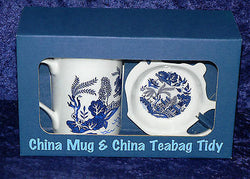 Bone china blue willow pattern mug, china coaster, egg cup or teabag tidy boxed