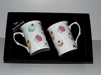 Cupcake mug gift set 2 x bone china mugs with cupcake print in black gift box