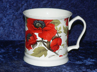 Poppy poppies colourful fine bone china tankard large mug