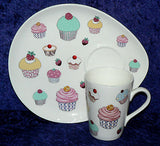 Cupcake design snack plate & mug.  Mug and plate set