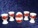 Poppy egg cup gift set. 4 egg cups & china egg salt and pepper gift tray