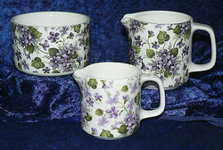 Violets design milk jugs, choice 3 sizes jug, or sugar pot bowl 4/7/10oz