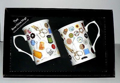 Sewing mug gift set 2 x bone china mugs with needlework print in black gift box