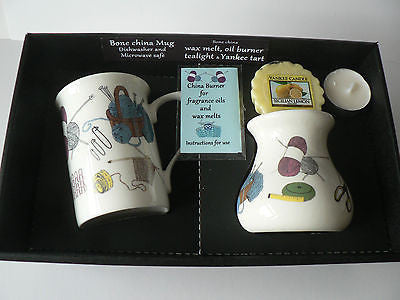 Knitting Mug & oil burner gift set - Gift box mug, oil burner Yankee melt t.lite