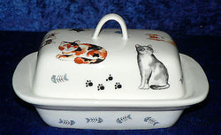 Cats butter dish traditional deep white dish decorated with different breeds