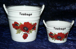 Poppy teabag tidy Bucket, used teabag holder decorated with poppies poppyfield in choice of 2 sizes