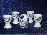 Egg cup gift set blue willow - 4 china egg cups & china egg salt and pepper