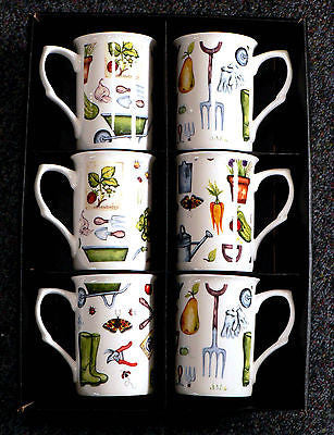 Gardening bone china mugs Set - 6 gift boxed matching mugs with gardening design