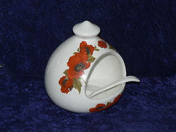 Poppy Salt pig & ceramic spoon  White porcelain decorated with colourful poppies