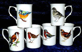 Garden Birds Bone china mugs -set of 6 boxed