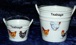 Chicken teabag tidy Bucket, used teabag holder,decorated with Cockerel rooster hen choice of 2 sizes